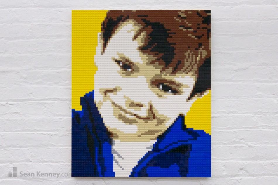Boy-in-blue-shirt LEGO art by Sean Kenney
