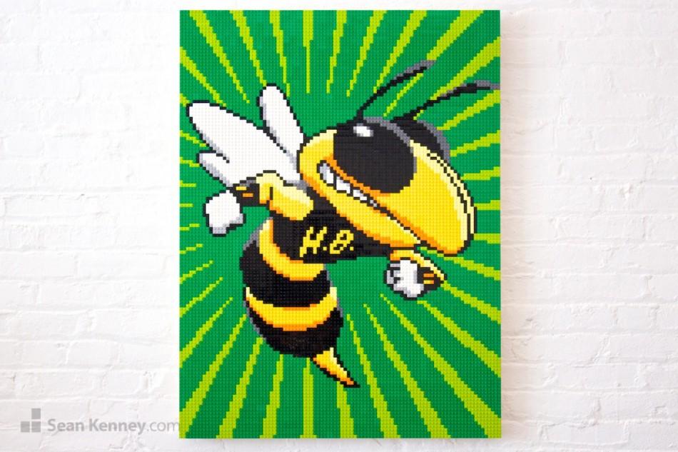 Honeybee-mascot LEGO art by Sean Kenney