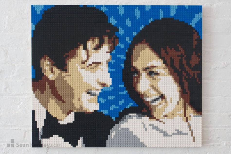 Joyous-bride-and-groom LEGO art by Sean Kenney