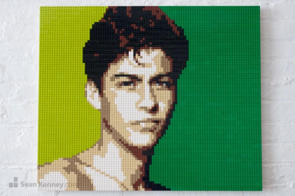 Shirtless-green-boy LEGO art by Sean Kenney