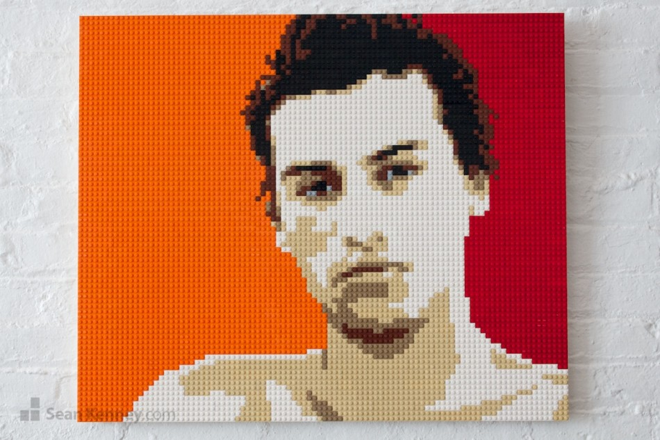 Shirtless-orange-boy LEGO art by Sean Kenney
