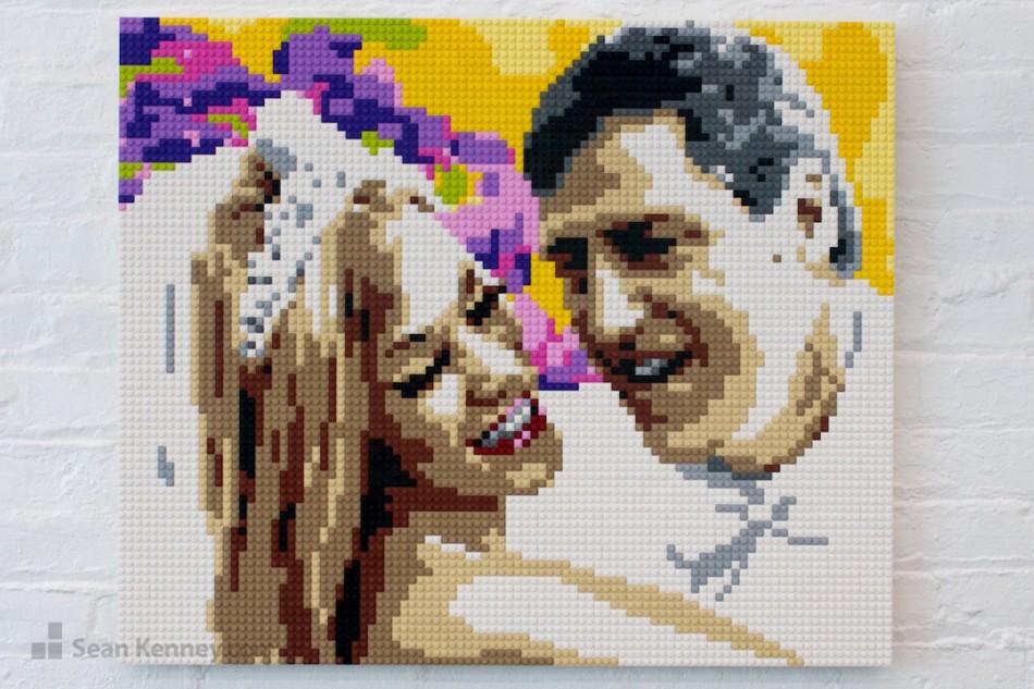 Wedding-portrait LEGO art by Sean Kenney