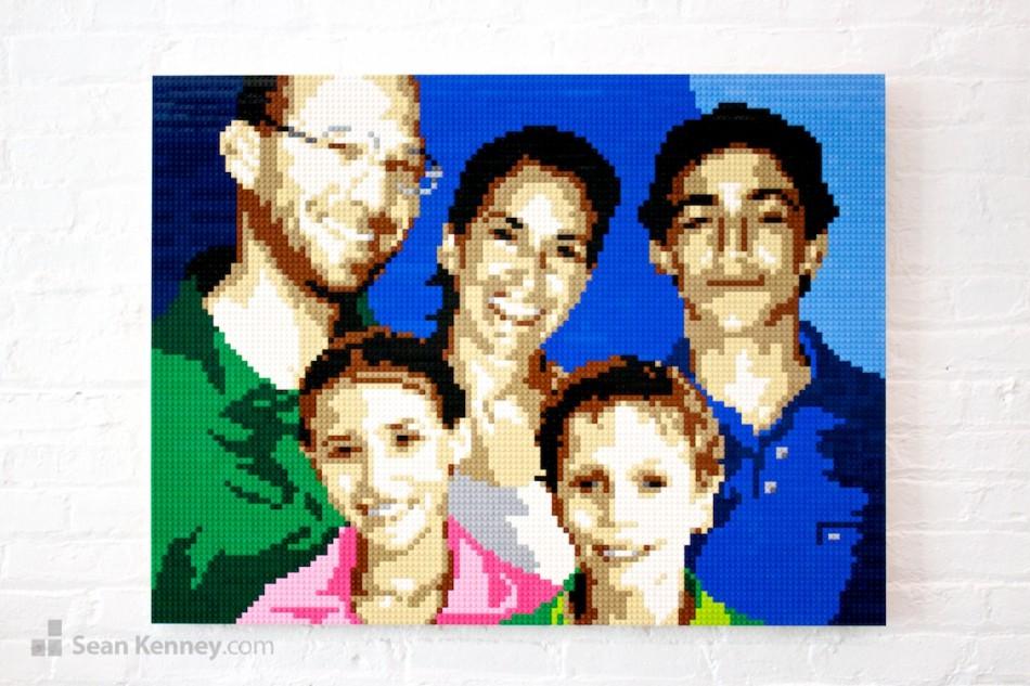 Family-portrait LEGO art by Sean Kenney