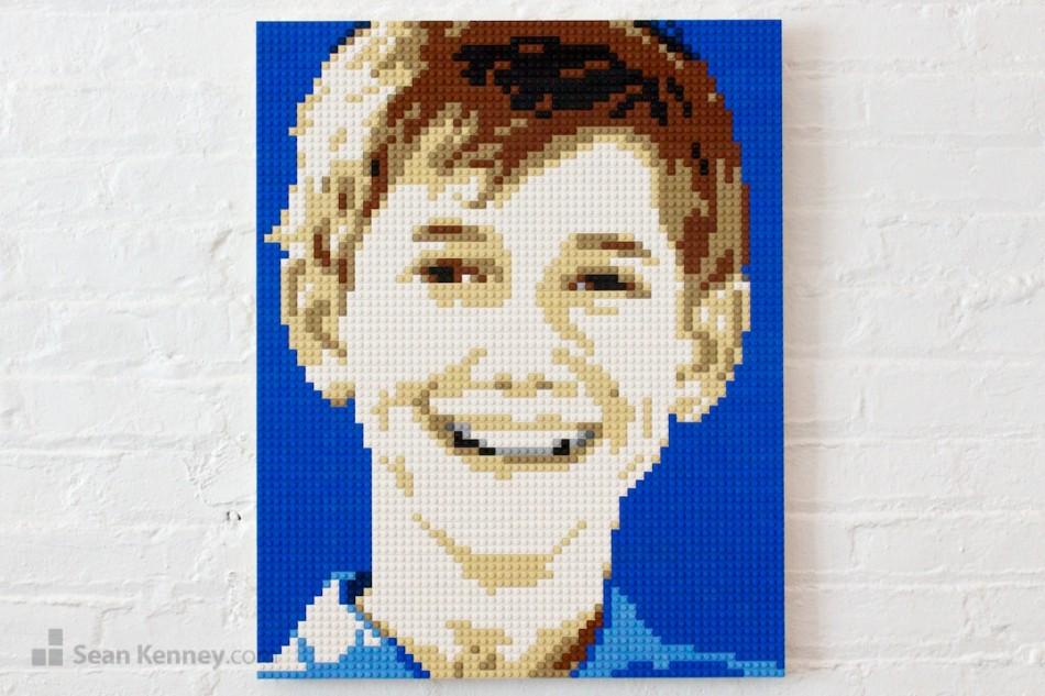 Smiley-blue-boy LEGO art by Sean Kenney