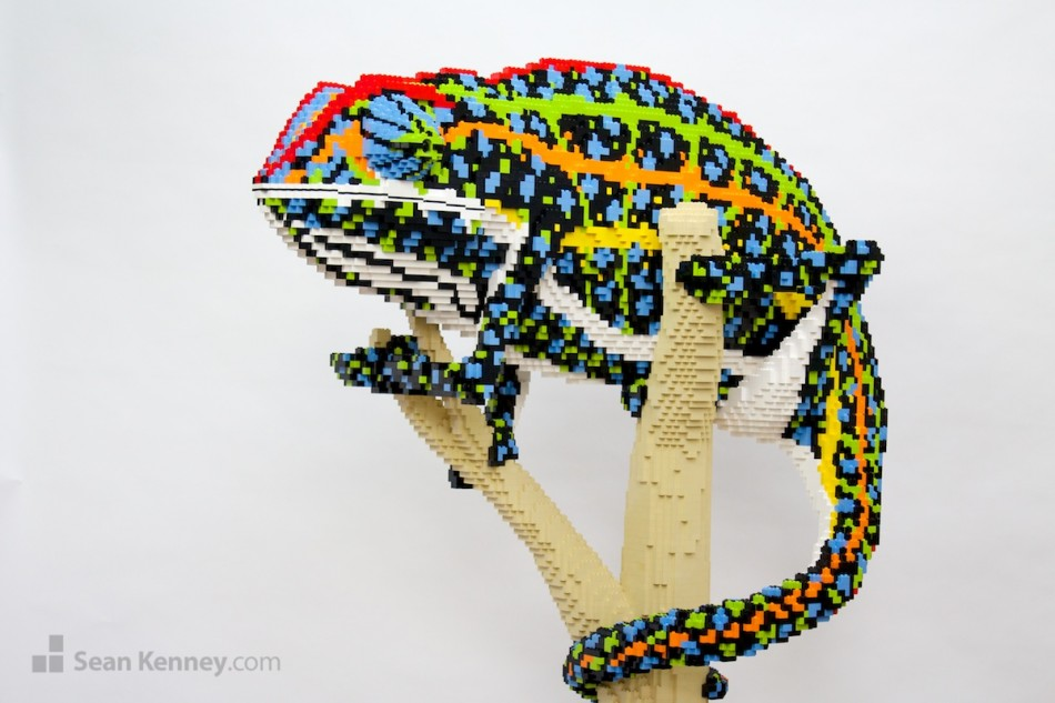 Jeweled-chameleon LEGO art by Sean Kenney