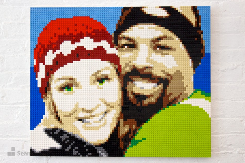 Husband-and-wife-in-hats LEGO art by Sean Kenney