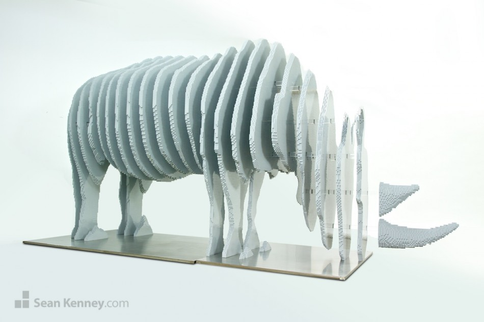 Disappearing-rhino LEGO art by Sean Kenney