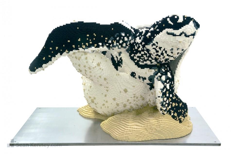 Hatching-baby-sea-turtle LEGO art by Sean Kenney