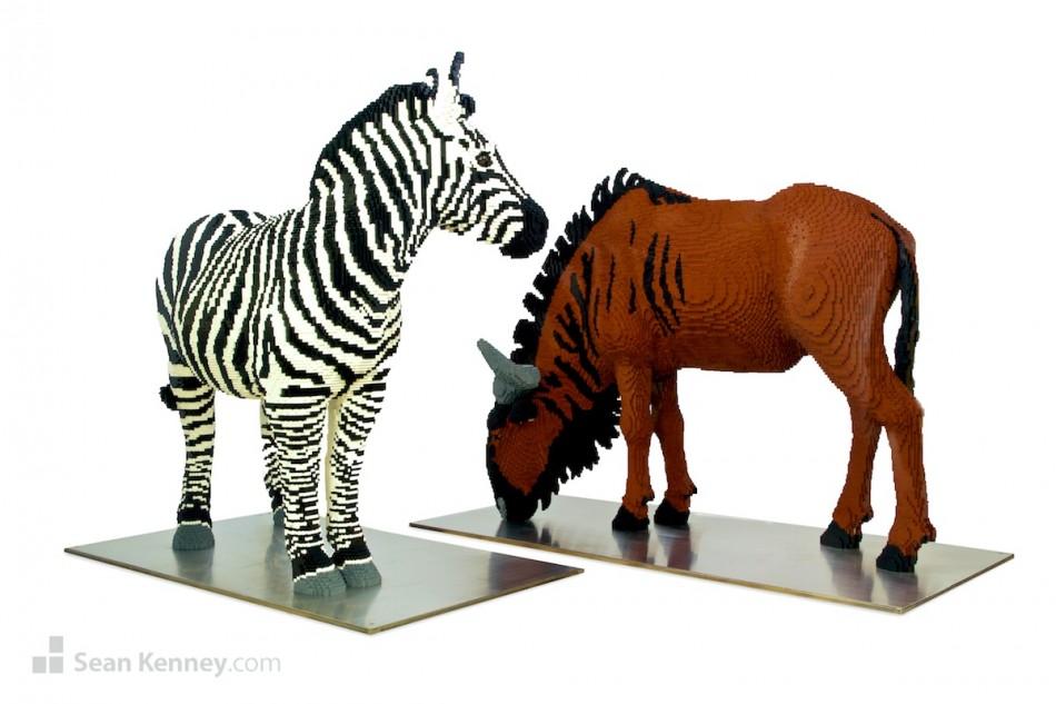 Zebra-and-wildebeest LEGO art by Sean Kenney