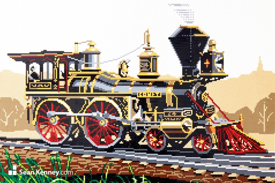 Vintage-steam-engine LEGO art by Sean Kenney