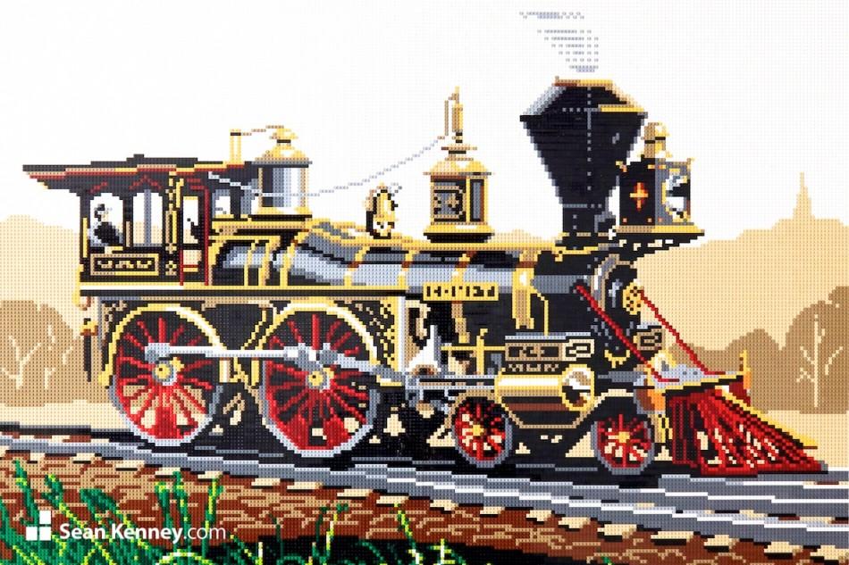 Vintage-steam-engine LEGO art by Sean Kenney
