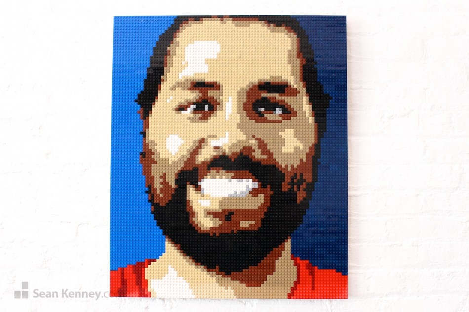 Happy-guy LEGO art by Sean Kenney