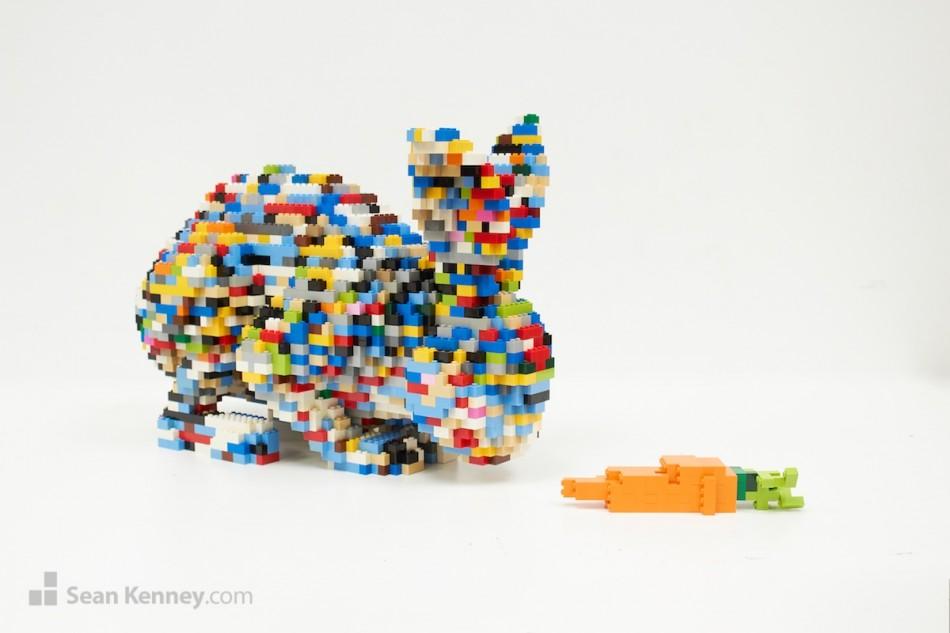 Rainbow-bunny LEGO art by Sean Kenney