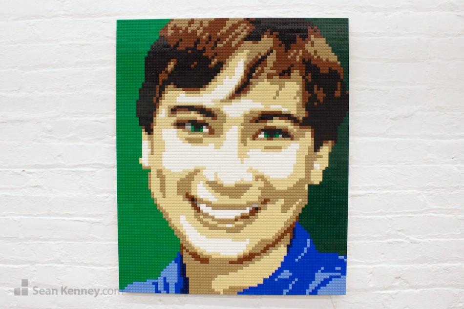 Green-eyed-boy LEGO art by Sean Kenney