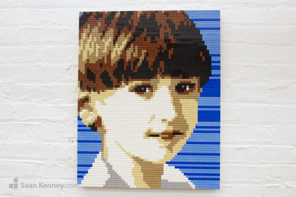 Brown-haired-boy LEGO art by Sean Kenney