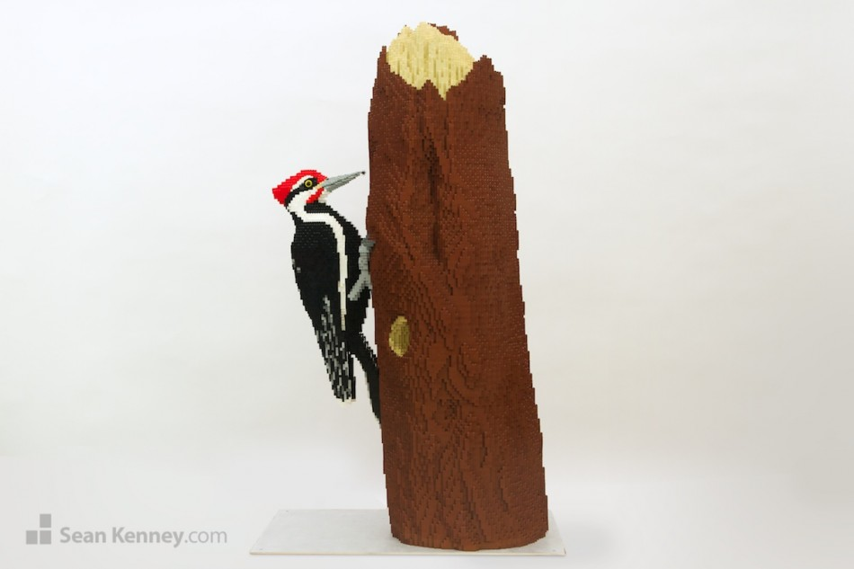Pileated-woodpecker LEGO art by Sean Kenney