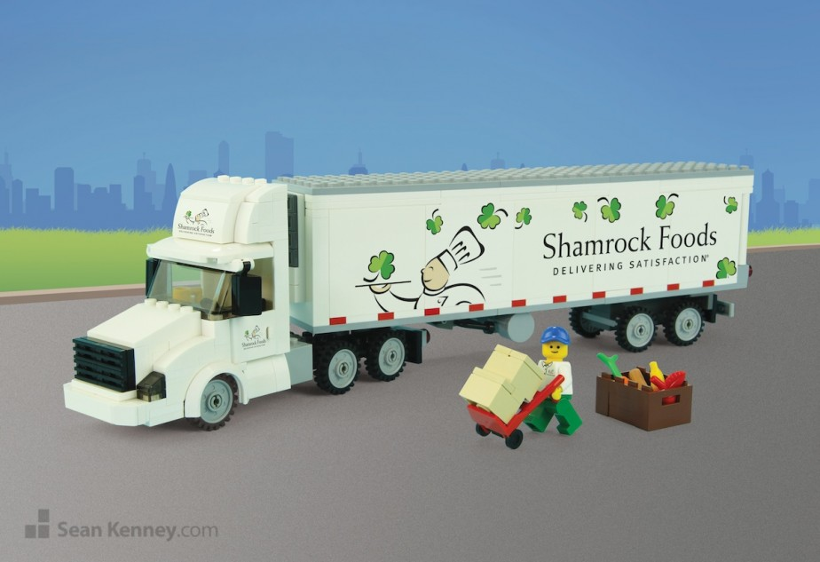 Shamrock-foods-truck LEGO art by Sean Kenney