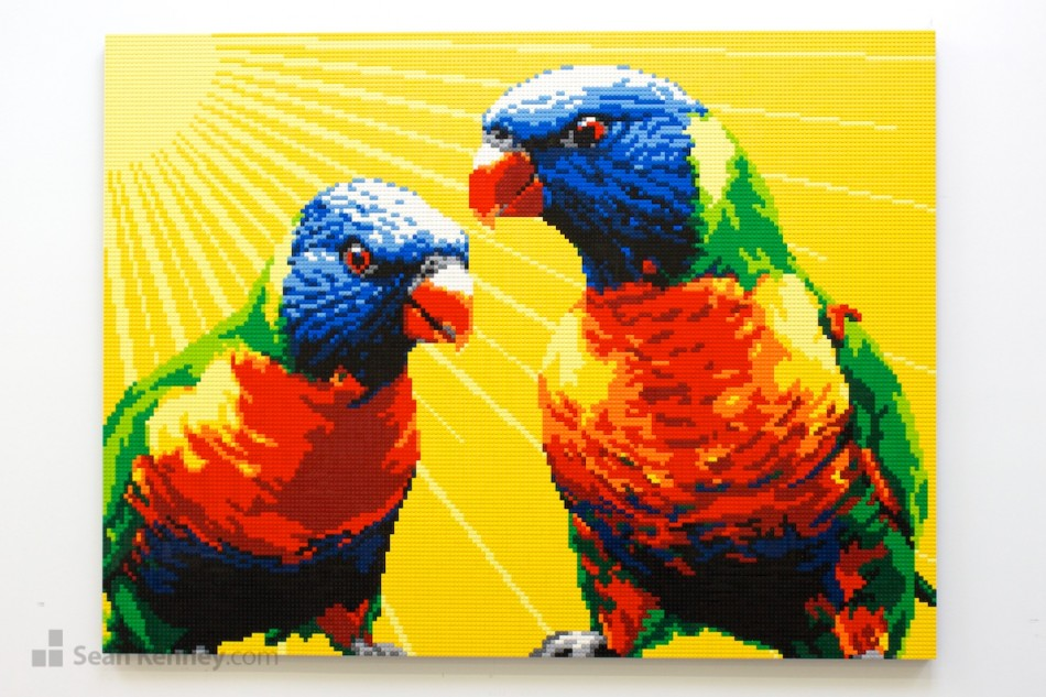 Yellow-parrots LEGO art by Sean Kenney