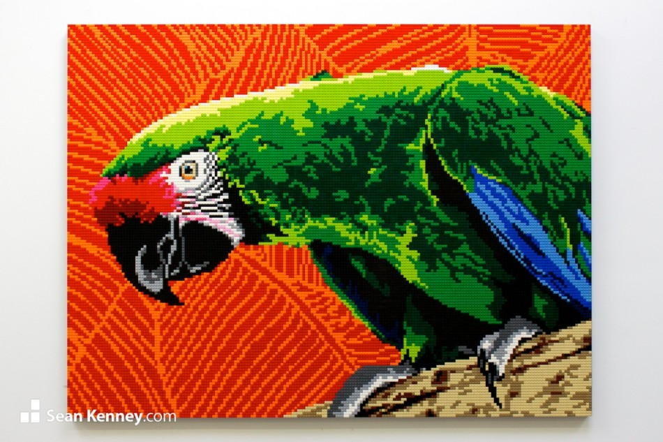 Green-parrot LEGO art by Sean Kenney