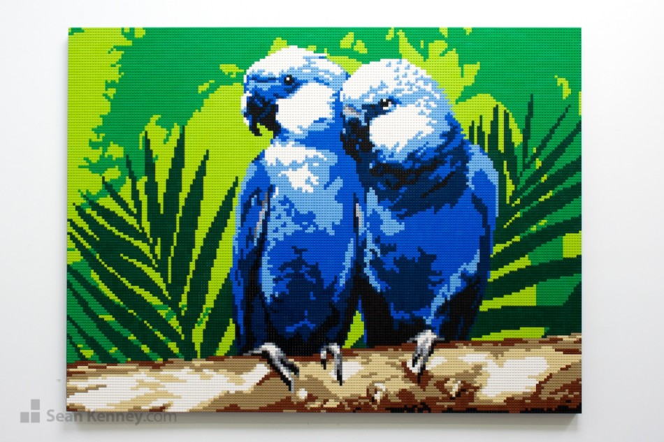 Blue-parrots LEGO art by Sean Kenney