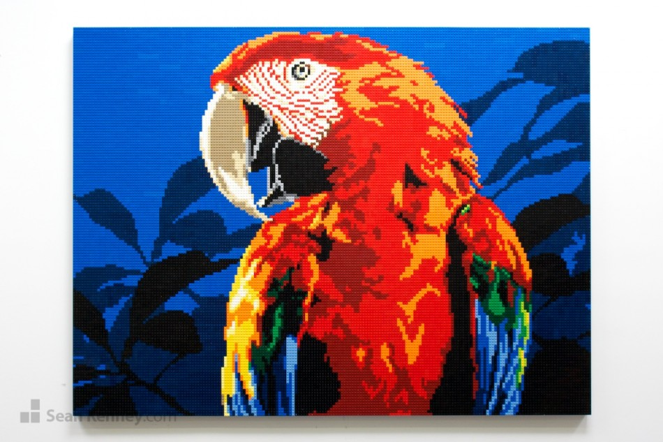 Red-parrot LEGO art by Sean Kenney