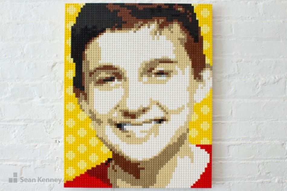 Boy-in-red-shirt LEGO art by Sean Kenney