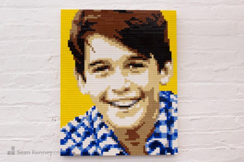 Boy-in-checkered-shirt LEGO art by Sean Kenney