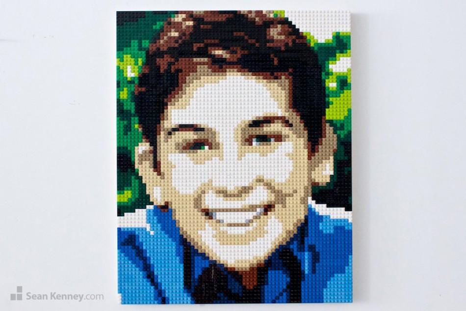 Brown-haired-boy-2 LEGO art by Sean Kenney