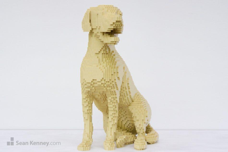 Monochrome-dog LEGO art by Sean Kenney