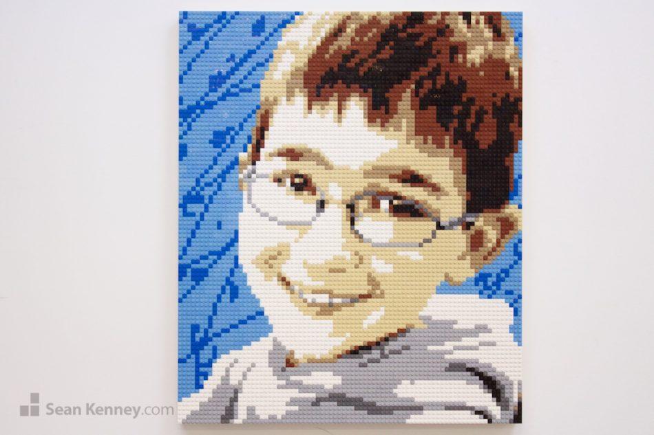 Boy-in-grey-hoodie LEGO art by Sean Kenney
