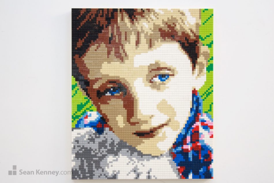 Blue-eyed-boy-in-plaid LEGO art by Sean Kenney