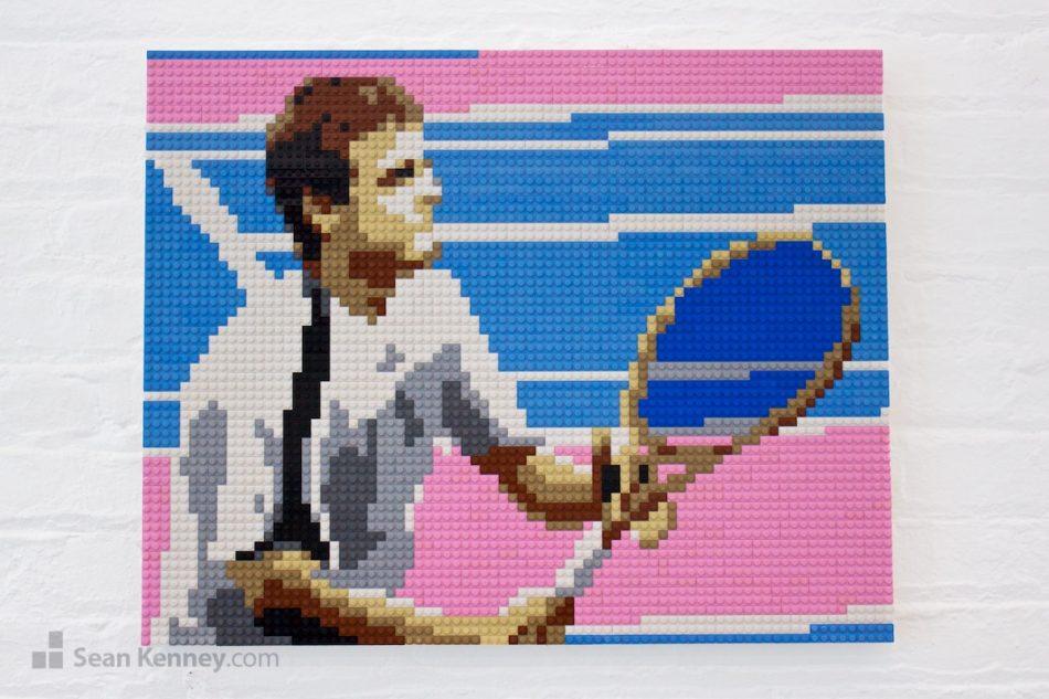 Tennis-player LEGO art by Sean Kenney