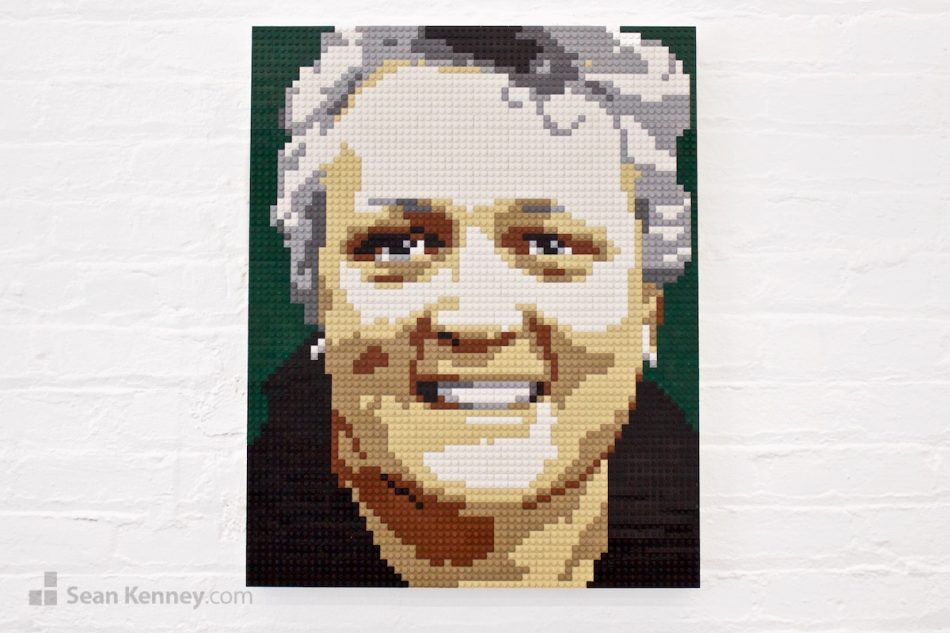 Curly-haired-woman LEGO art by Sean Kenney