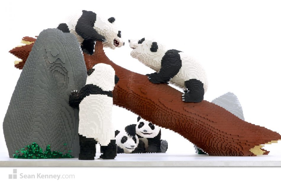 Baby-pandas-playing LEGO art by Sean Kenney