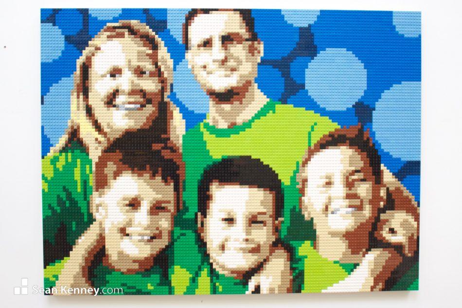 Green-family-portrait LEGO art by Sean Kenney