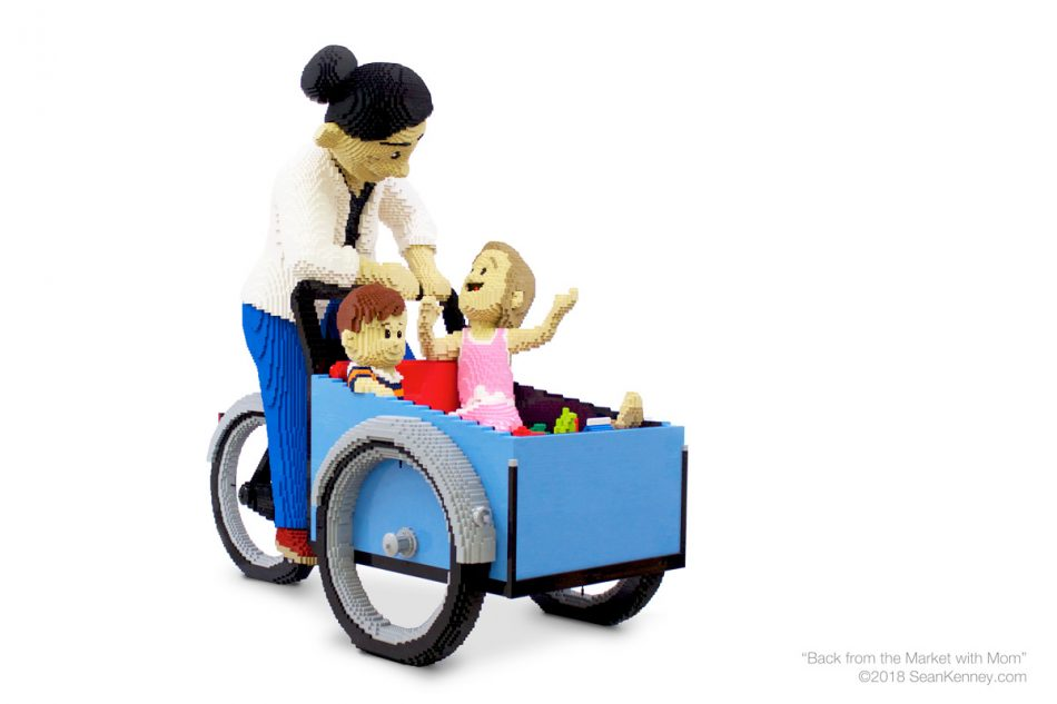 Back-from-the-market-with-mom LEGO art by Sean Kenney