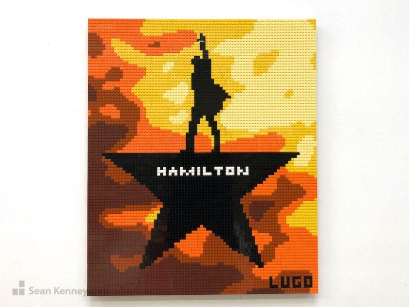 Hamilton-logo LEGO art by Sean Kenney