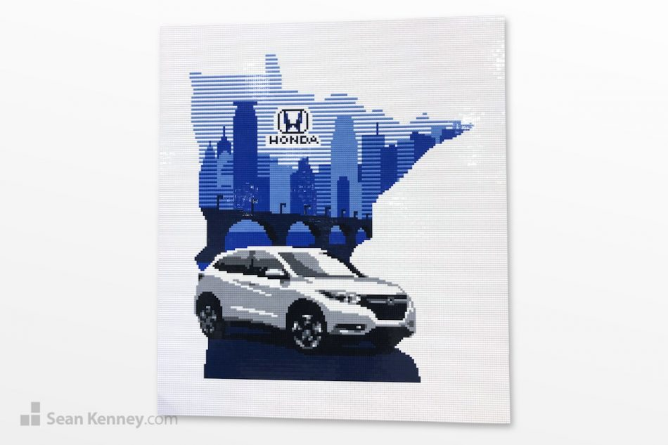 White-honda-mural LEGO art by Sean Kenney