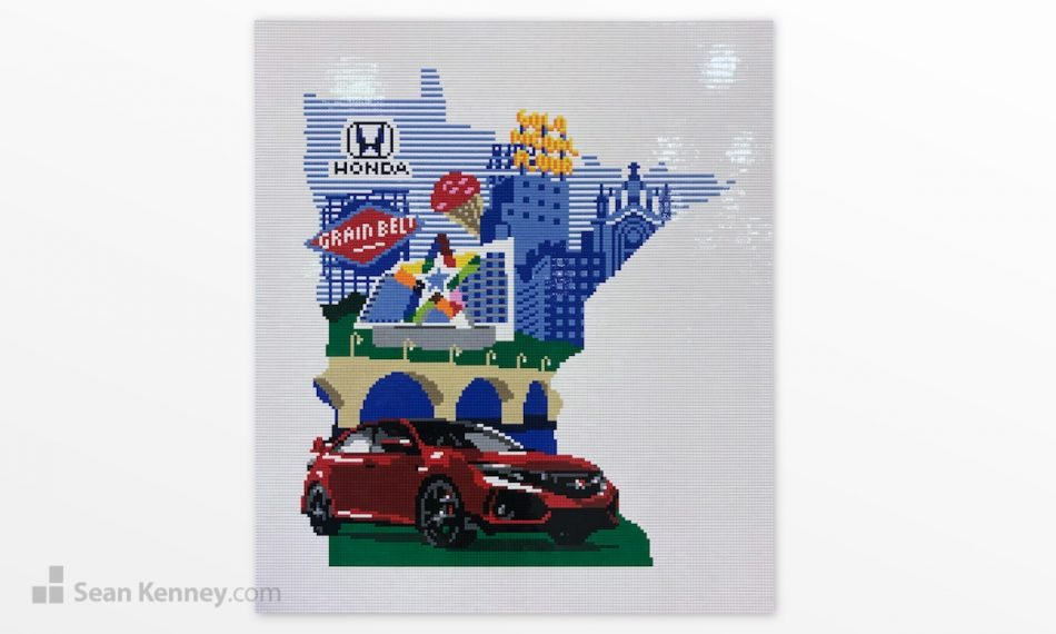 Red-honda-mural LEGO art by Sean Kenney