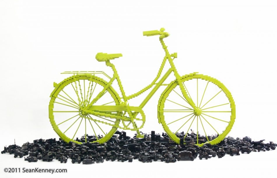 Bicycle-triumphs-traffic LEGO art by Sean Kenney