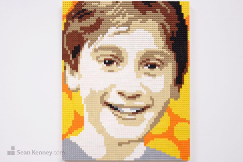 Boy-in-grey-shirt LEGO art by Sean Kenney