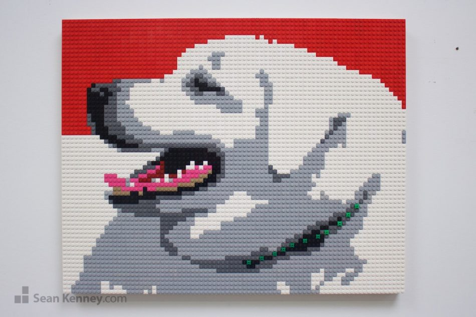 Big-white-pooch LEGO art by Sean Kenney