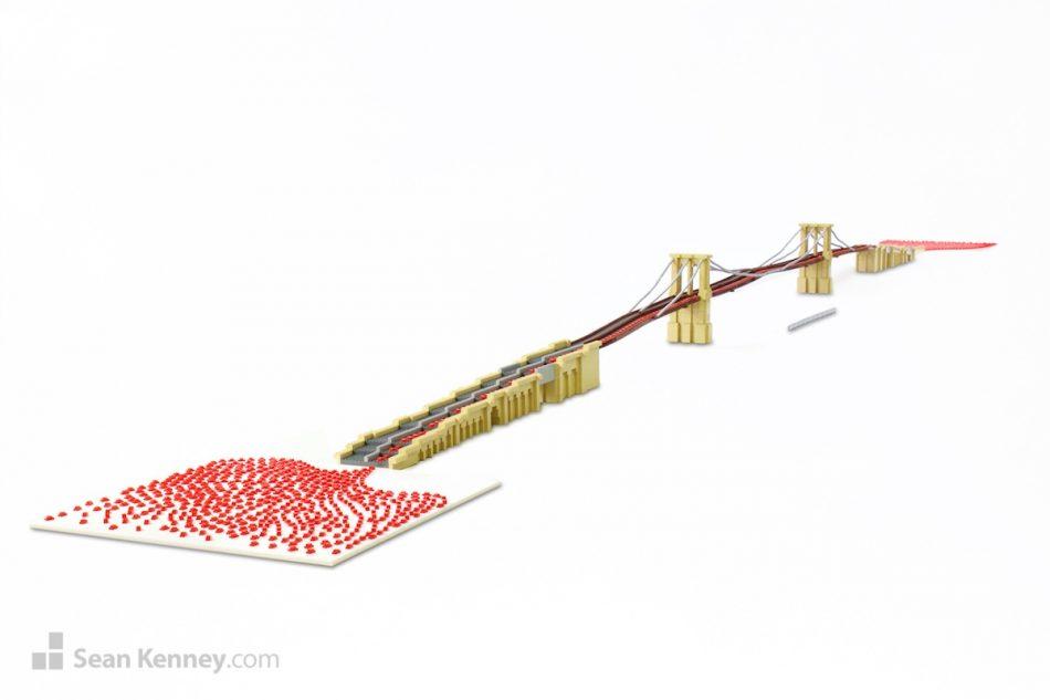 Bridge-traffic LEGO art by Sean Kenney
