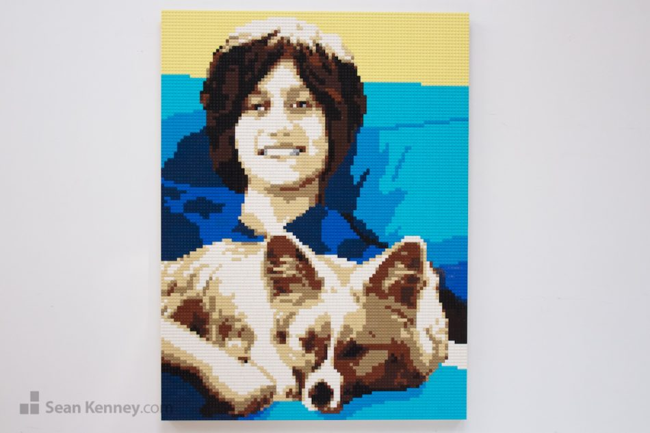 A-young-man-and-his-dog LEGO art by Sean Kenney