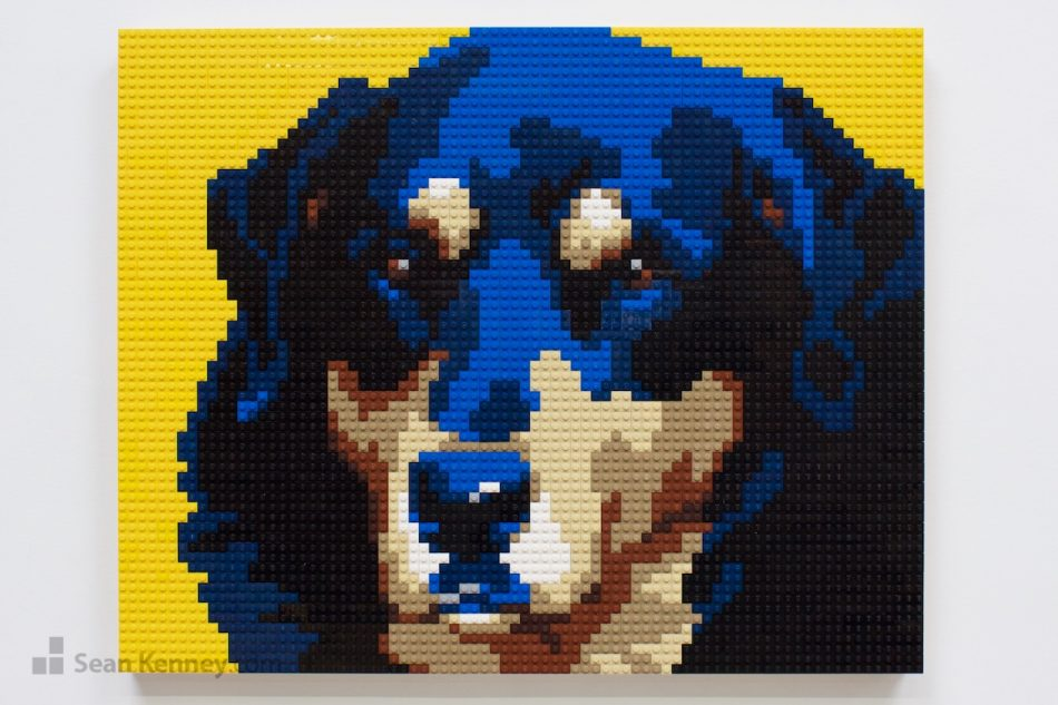 Blue-pooch LEGO art by Sean Kenney