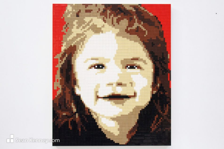Little-girl-on-red LEGO art by Sean Kenney