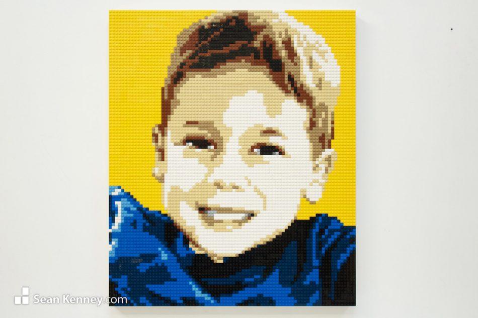 Boy-in-fuzzy-sweater LEGO art by Sean Kenney