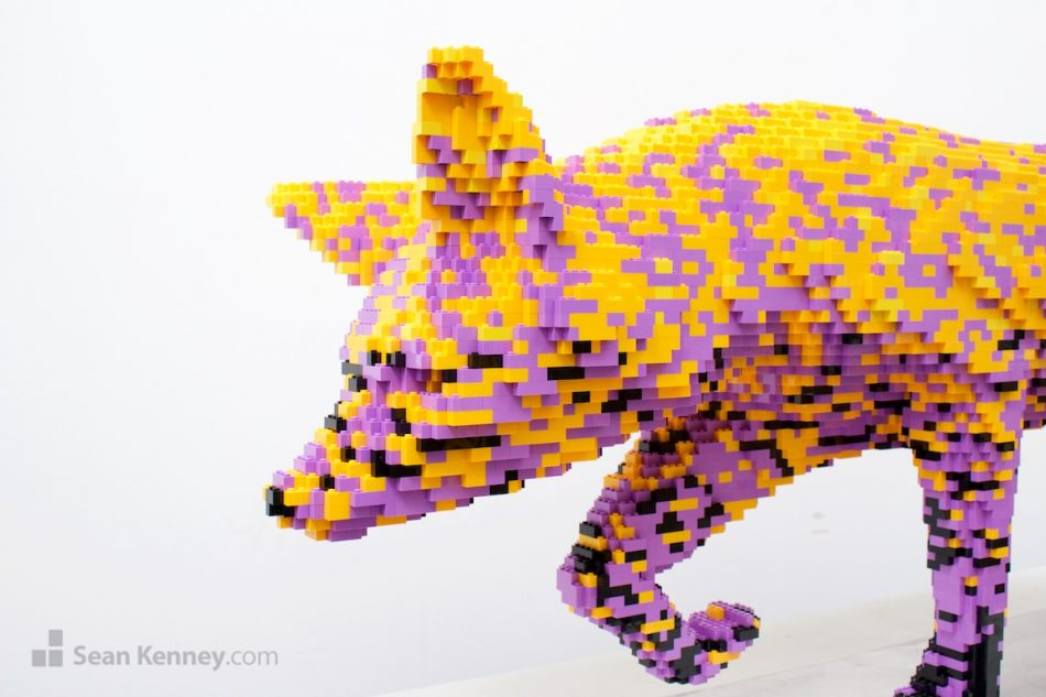 Golden-flecked-purple-fox LEGO art by Sean Kenney