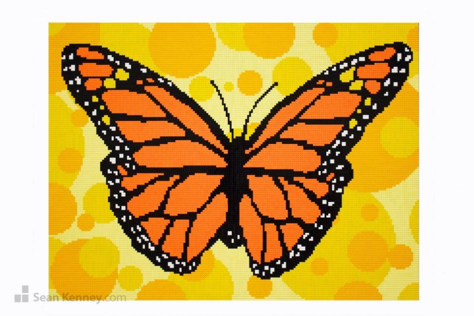 Monarch-mural LEGO art by Sean Kenney