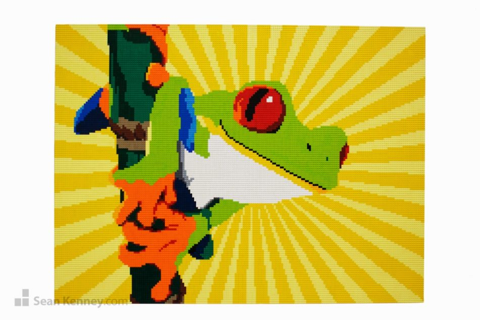 Tree-frog-mural LEGO art by Sean Kenney